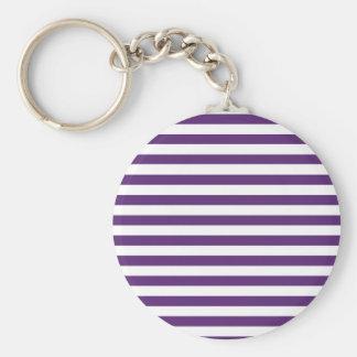 Purple and White Stripes Keychain