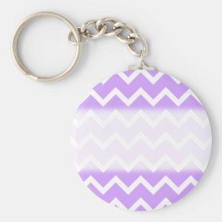 Purple and White Zigzag Stripes. Basic Round Button Key Ring