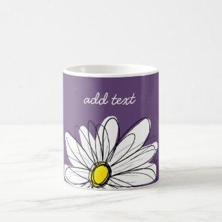 Purple and Yellow Whimsical Daisy Custom Text Basic White Mug