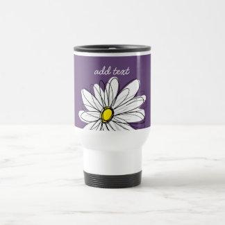 Purple and Yellow Whimsical Daisy Custom Text Stainless Steel Travel Mug