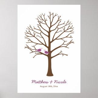 Purple Brown Birds Fingerprint Tree Wedding Poster