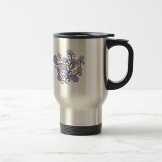 Purple Bud Flower Motif Stainless Steel Travel Mug