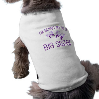 Purple Butterfly Big Sister to Be Sleeveless Dog Shirt