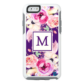 Purple Chic Monogram Floral Otter iPhone 6/6s Case