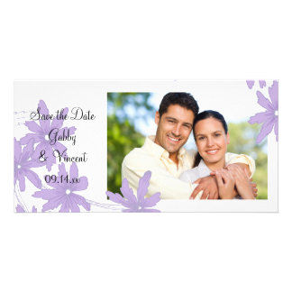 Purple Daisies on White Wedding Save the Date Personalised Photo Card