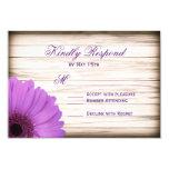 Purple Daisy Rustic Wood Wedding RSVP Cards 9 Cm X 13 Cm Invitation Card