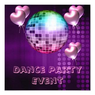Purple Dance Party Event Mirrorball Love Balloons 13 Cm X 13 Cm Square Invitation Card
