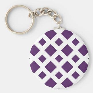 Purple Diamonds on White Basic Round Button Key Ring