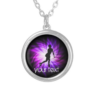 Purple Figure Skating Round Pendant Necklace