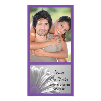 Purple Floral Highlights Wedding Save the Date Personalised Photo Card