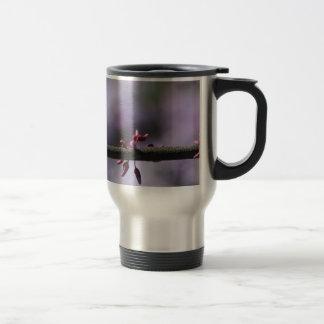 Purple Flower and Stem Stainless Steel Travel Mug