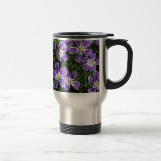 Purple flower design stainless steel travel mug