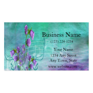Purple Flowers and Musical Notes Pack Of Standard Business Cards