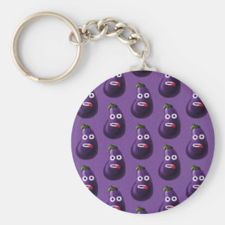 Purple Funny Cartoon Eggplant Pattern Basic Round Button Key Ring