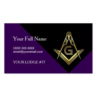 Purple & Gold Masonic Business Cards, Freemasonry Pack Of Standard Business Cards
