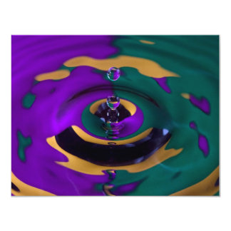 Purple Green and Yellow Water Drop 11 Cm X 14 Cm Invitation Card