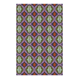 Purple Green Gothic Ogee Quatrefoil Custom Stationery