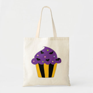 Purple Halloween Bats Cupcake Budget Tote Bag
