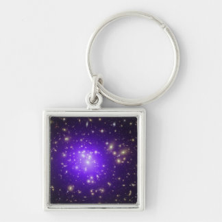 Purple haze of stars at night Silver-Colored square key ring