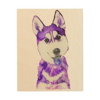 Purple Husky Pup Wood Print