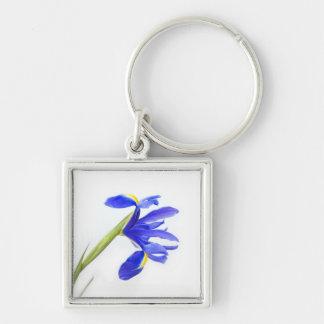 Purple Iris Flower Silver-Colored Square Key Ring