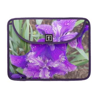 Purple Iris with Water Droplets Macbook Pro Sleeve