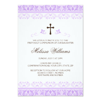 Purple lace girls first communion confirmation 13 cm x 18 cm invitation card