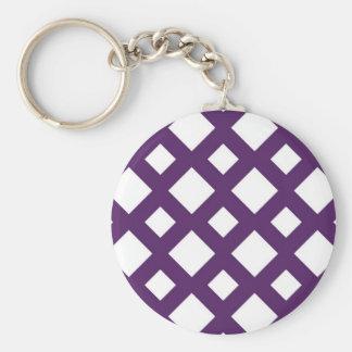 Purple Lattice on White Basic Round Button Key Ring
