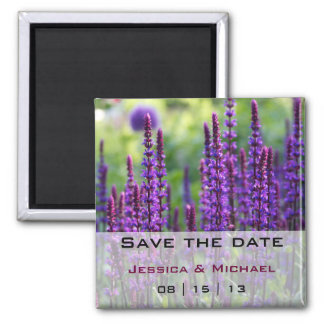Purple Lavender Flowers Wedding Save the Date Magn Square Magnet