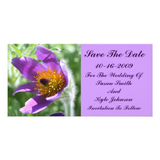 Purple Pasque Flower Wedding Save The Date Customised Photo Card