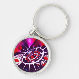 Purple Passion Gambler Silver-Colored Round Key Ring
