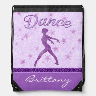 Purple Posing Dancer with a Cheetah Print Stripe Drawstring Backpacks