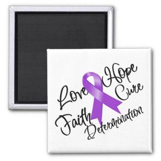 Purple Ribbon Love Hope Determination Square Magnet