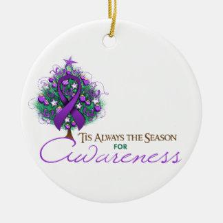 Purple Ribbon Xmas Awareness Season Round Ceramic Decoration