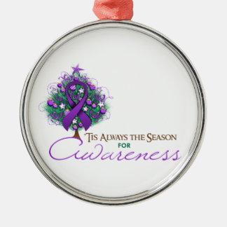 Purple Ribbon Xmas Awareness Season Silver-Colored Round Decoration