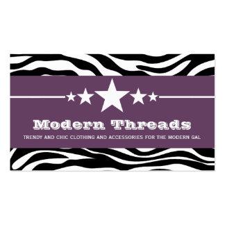 Purple Sassy Star Zebra Print Business Card