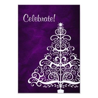 Purple Silver Tree Christmas Party 9 Cm X 13 Cm Invitation Card