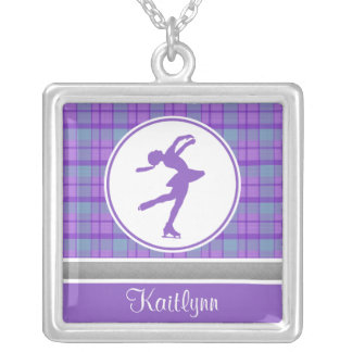 Purple Skating Sweetheart Plaid Square Necklace