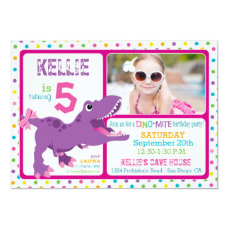 Purple T-Rex Dinosaur Polka Dot Birthday 13 Cm X 18 Cm Invitation Card