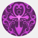 Purple Tribal Ankh Round Sticker