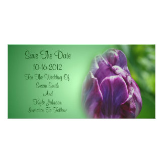 Purple Tulip Flower Wedding Save The Date Picture Card