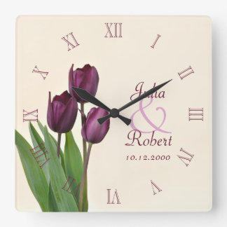 Purple tulips anniversary wall clocks