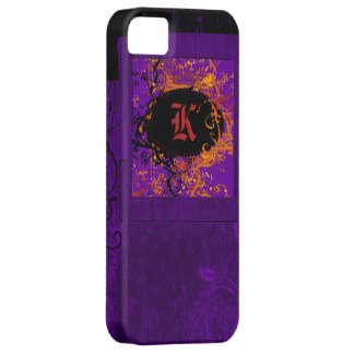 Purple vintage floral and Monogram K Barely There iPhone 5 Case