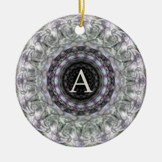 Purple Wave Star Monogram A Round Ceramic Decoration