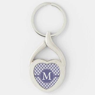 Purple White Chevron Monogram Silver-Colored Twisted Heart Key Ring