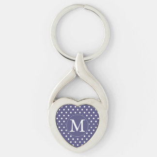 Purple White Dots Monogram Silver-Colored Twisted Heart Key Ring