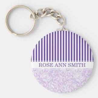 Purple-White Stripe•Swirly Wave Pattern•Custom Basic Round Button Key Ring