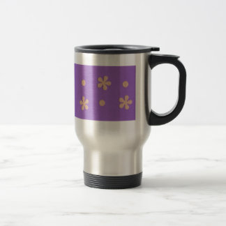 Purple with Yellow Flowers and Dots Design Stainless Steel Travel Mug