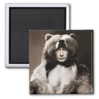 Putin the Bear Square Magnet