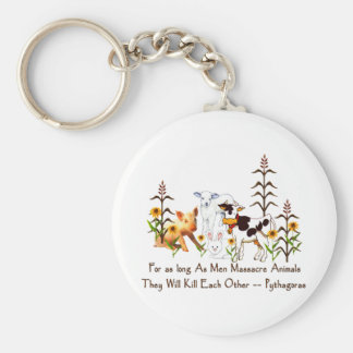 Pythagoras Vegetarian quote Basic Round Button Key Ring